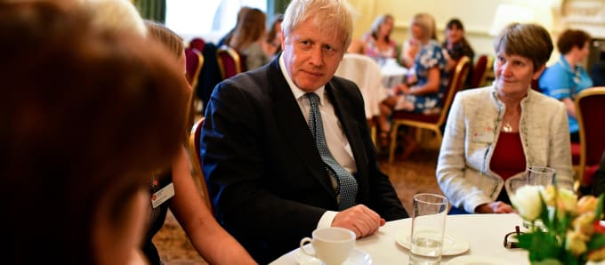 Prime Minister Boris Johnson and Nikki Tout of Katharine House Hospice